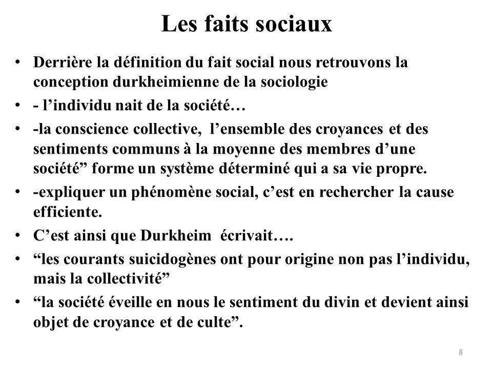 Les faits sociaux Derrière la définition du fait social nous retrouvons la conception durkheimienne de la sociologie.
