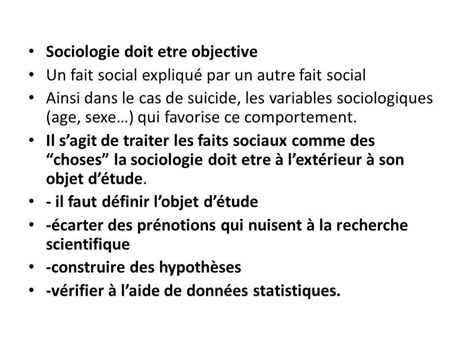 Sociologie doit etre objective