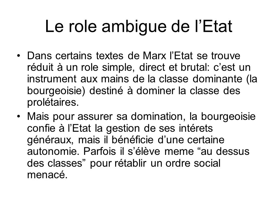 Le role ambigue de l'Etat