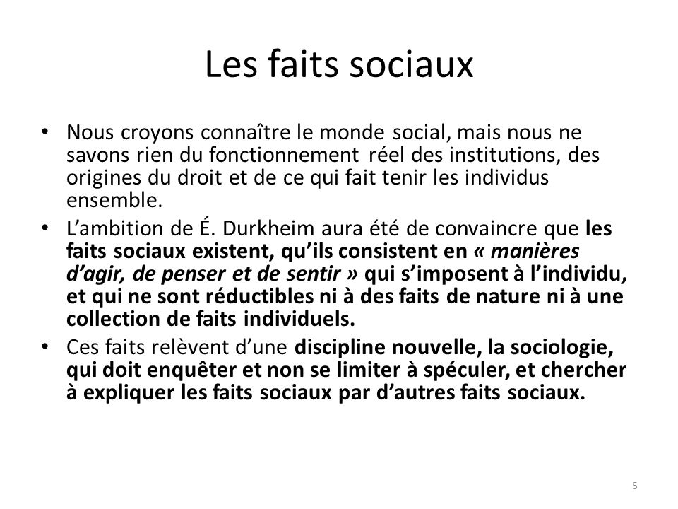 Les faits sociaux