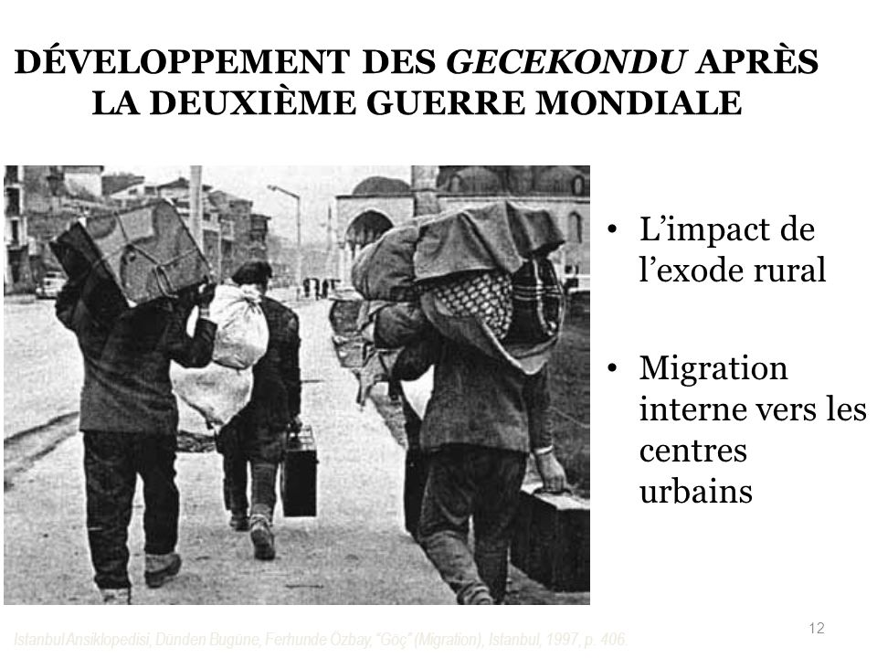 DÉVELOPPEMENT DES GECEKONDU APRÈS LA DEUXIÈME GUERRE MONDIALE