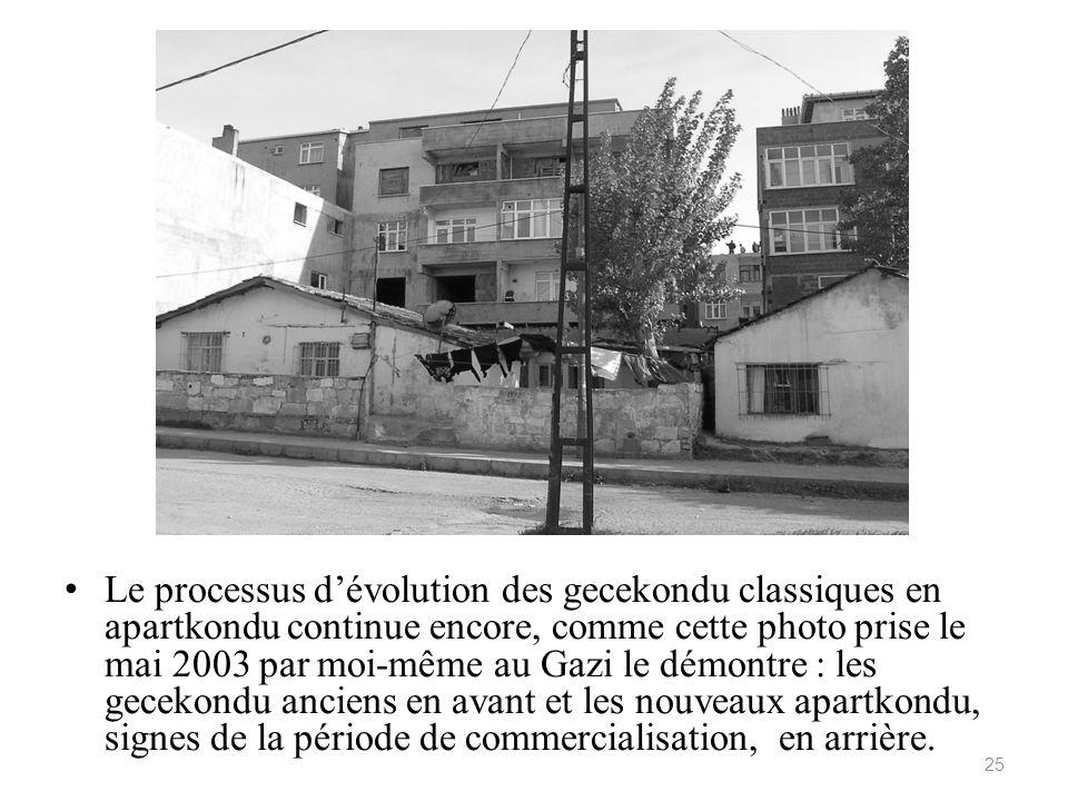 Le processus d'évolution des gecekondu classiques en apartkondu continue encore, comme cette photo prise le mai 2003 par moi-même au Gazi le démontre : les gecekondu anciens en avant et les nouveaux apartkondu, signes de la période de commercialisation, en arrière.