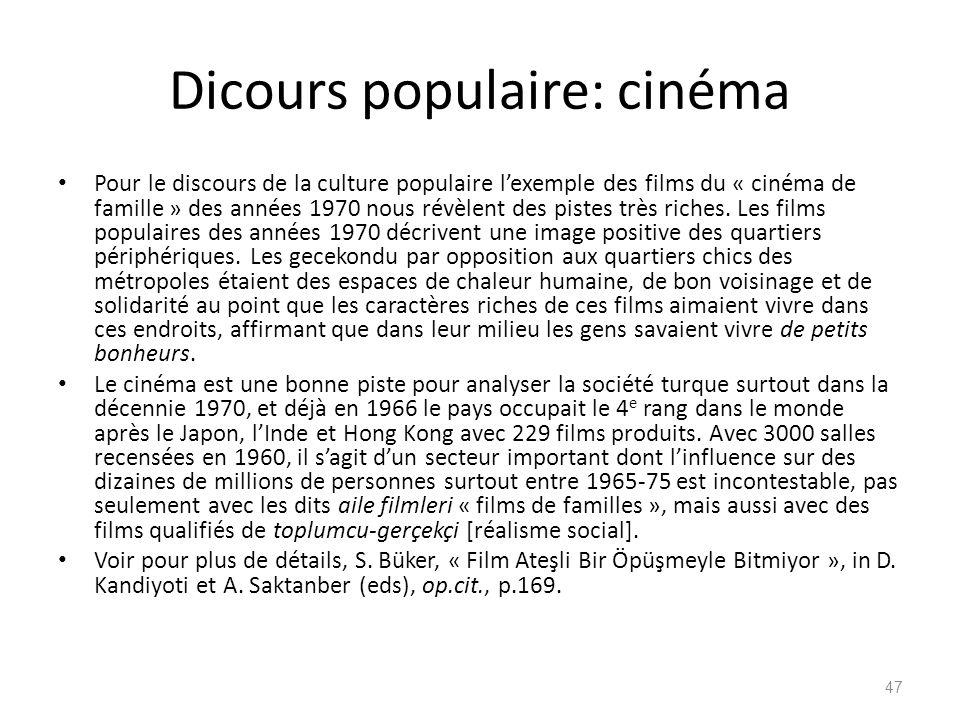 Dicours populaire: cinéma