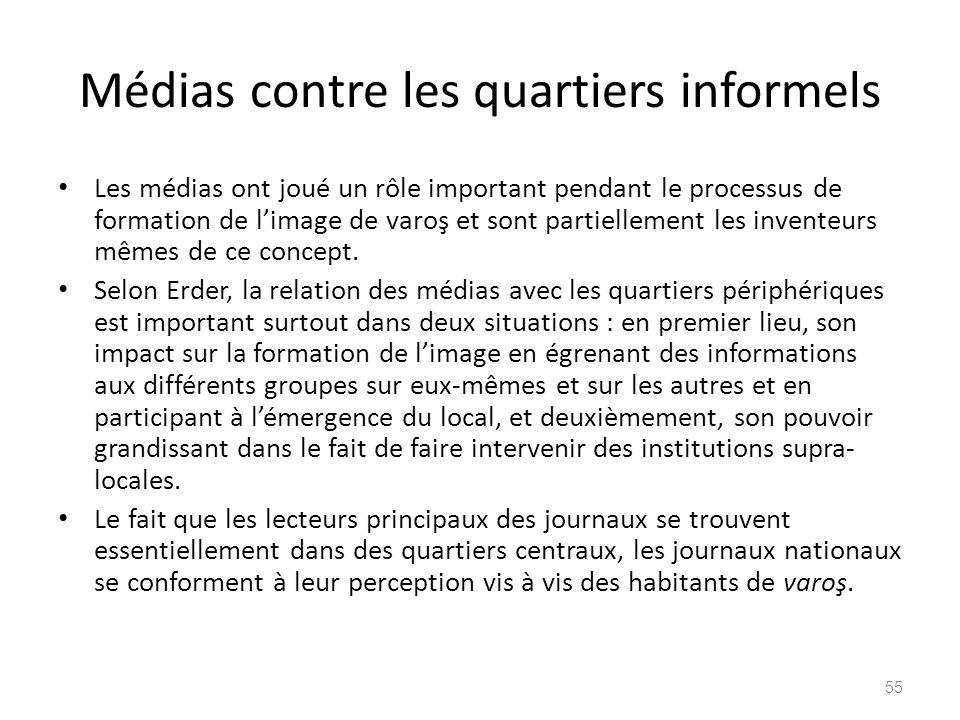 Médias contre les quartiers informels