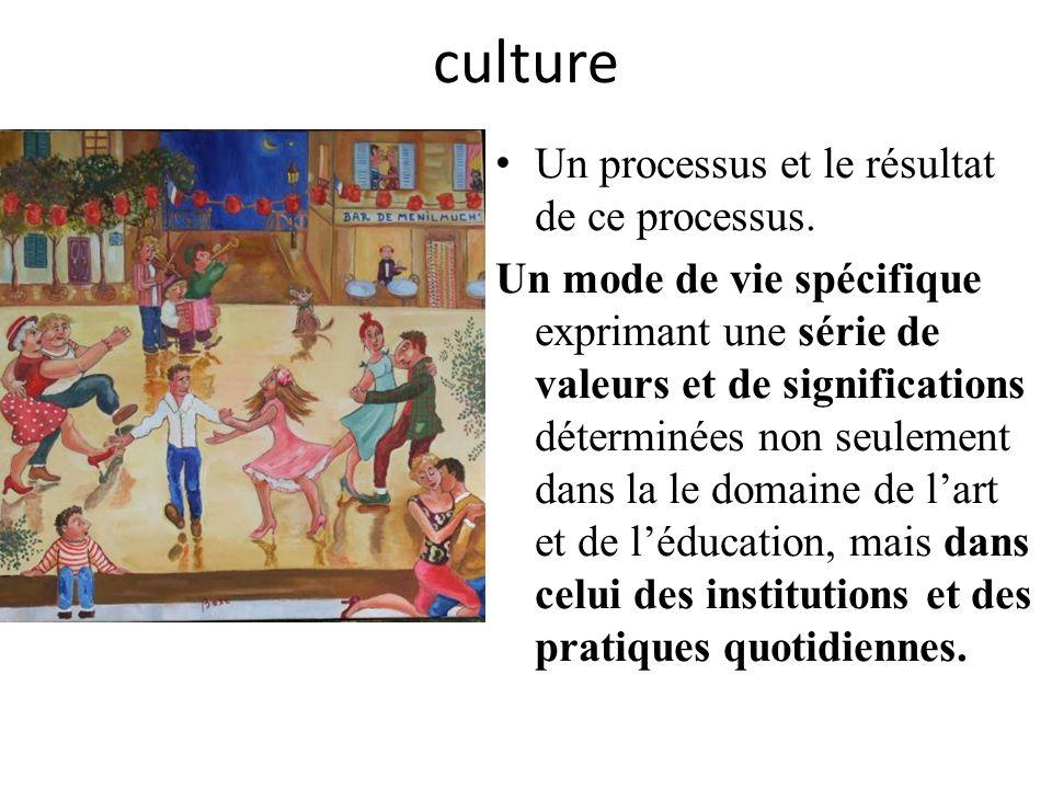 culture Un processus et le résultat de ce processus.