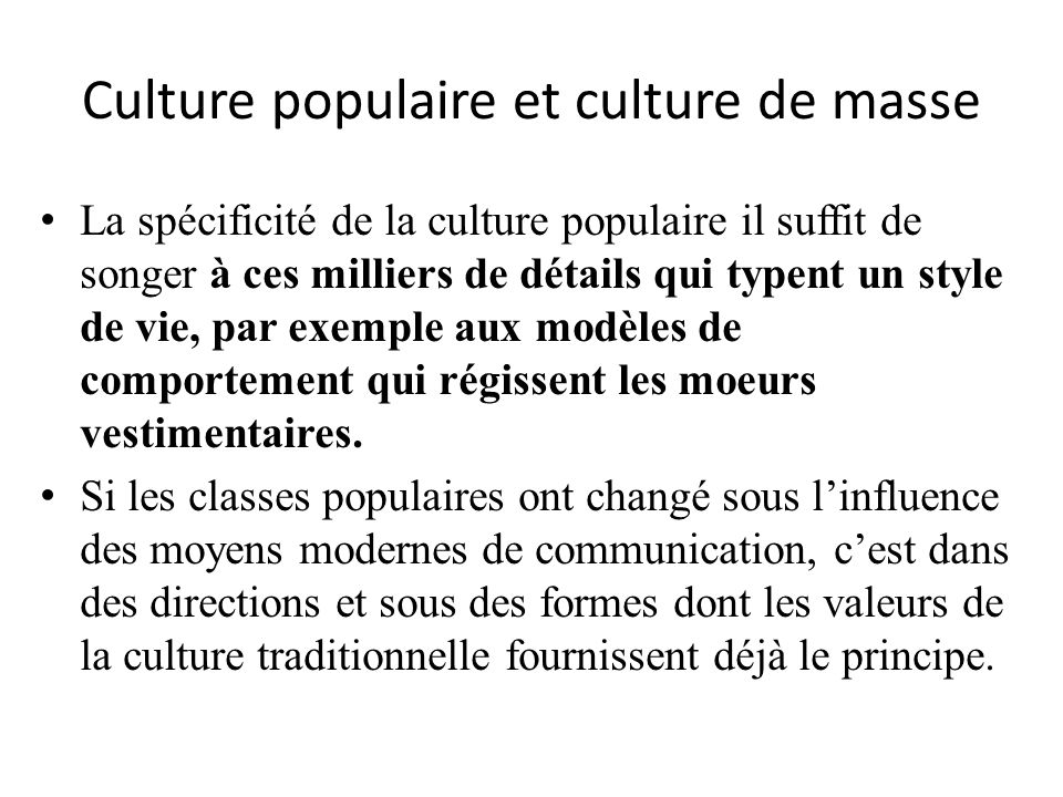 Culture populaire et culture de masse