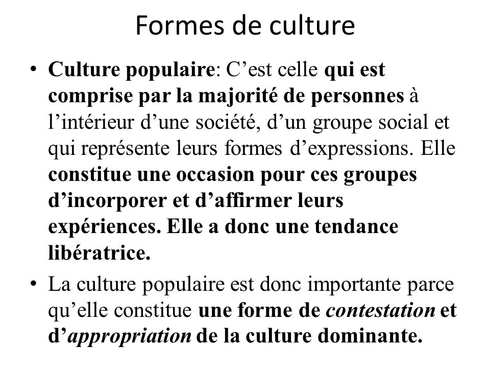 Formes de culture