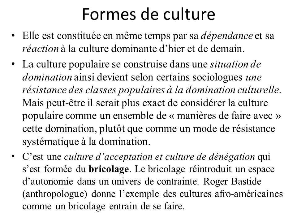 Formes de culture Elle est constituée en même temps par sa dépendance et sa réaction à la culture dominante d'hier et de demain.