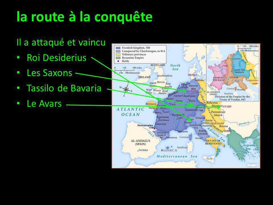 la route à la conquête Il a attaqué et vaincu Roi Desiderius