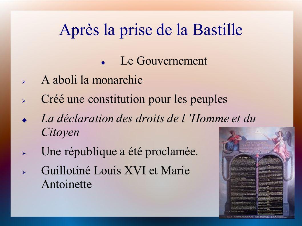 Après la prise de la Bastille