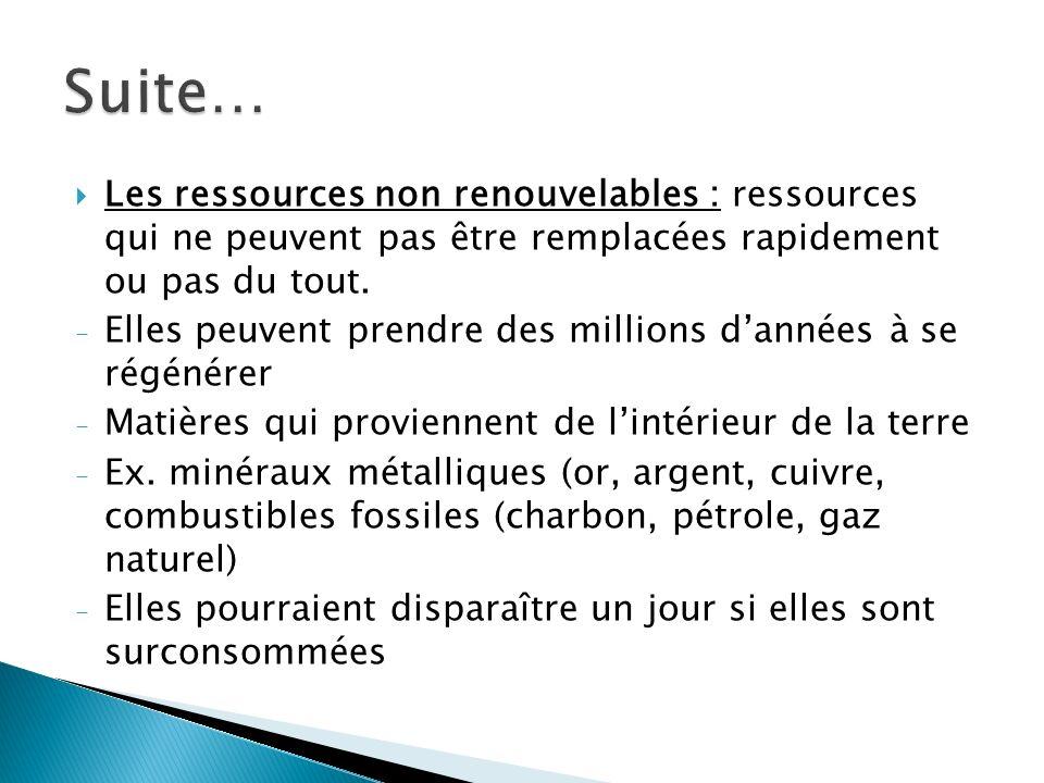 Suite… Les ressources non renouvelables : ressources qui ne peuvent pas être remplacées rapidement ou pas du tout.