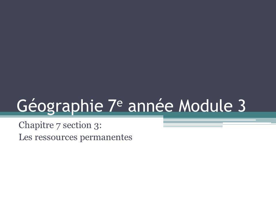 Géographie 7e année Module 3