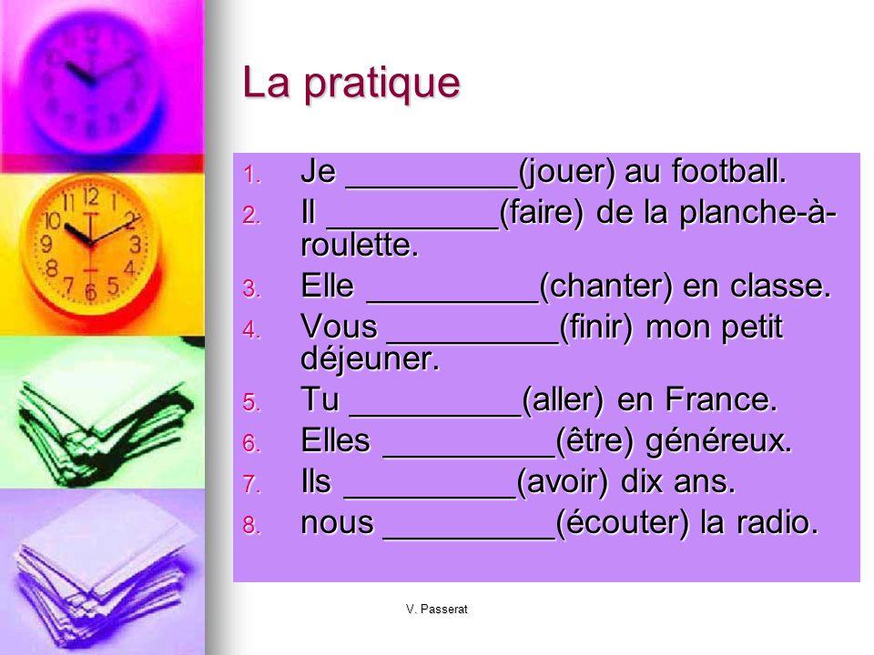 La pratique Je _________(jouer) au football.