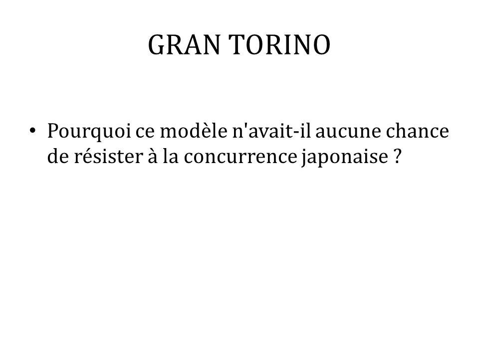 GRAN TORINO Pourquoi ce modèle n avait-il aucune chance de résister à la concurrence japonaise