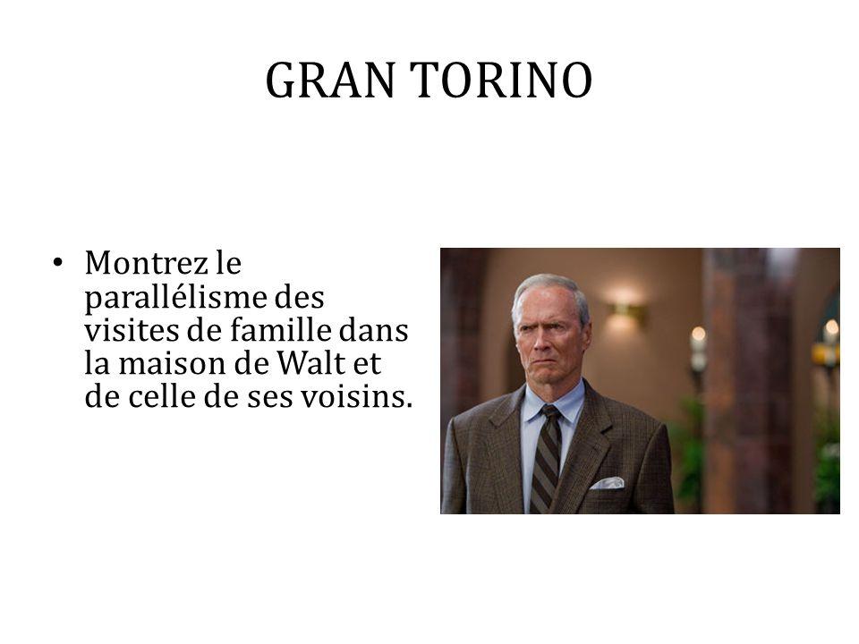 GRAN TORINO Montrez le parallélisme des visites de famille dans la maison de Walt et de celle de ses voisins.