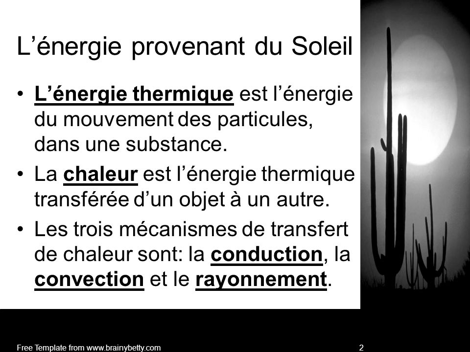 L'énergie provenant du Soleil