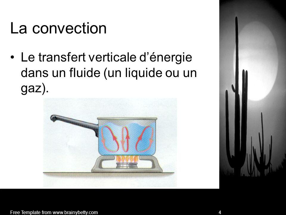 La convection Le transfert verticale d'énergie dans un fluide (un liquide ou un gaz).