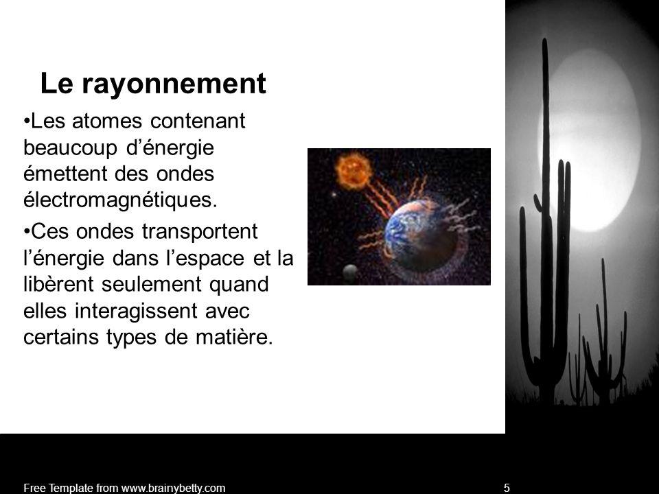 Le rayonnement Les atomes contenant beaucoup d'énergie émettent des ondes électromagnétiques.