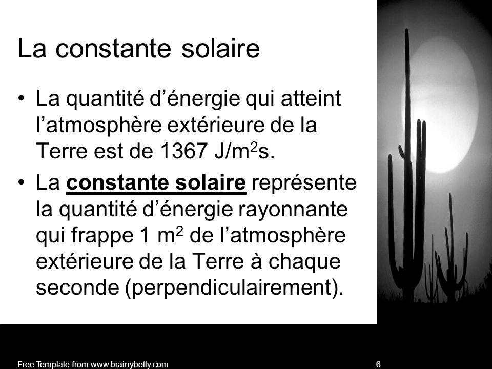 La constante solaire La quantité d'énergie qui atteint l'atmosphère extérieure de la Terre est de 1367 J/m2s.