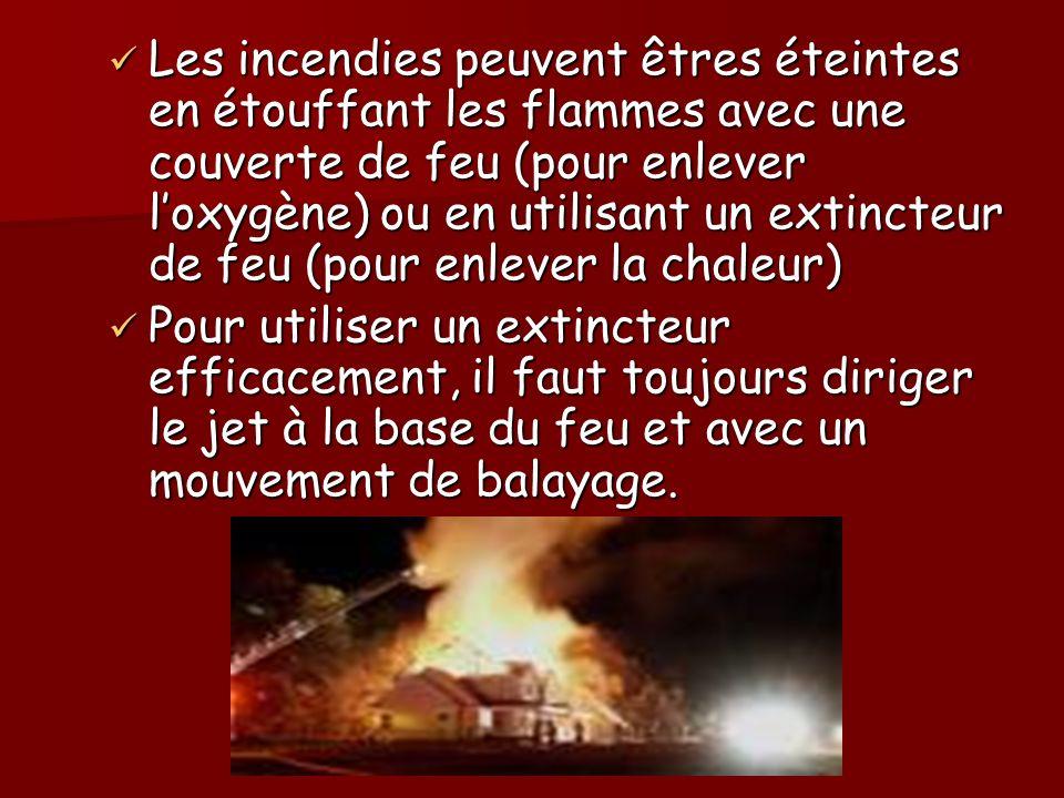 Les incendies peuvent êtres éteintes en étouffant les flammes avec une couverte de feu (pour enlever l'oxygène) ou en utilisant un extincteur de feu (pour enlever la chaleur)