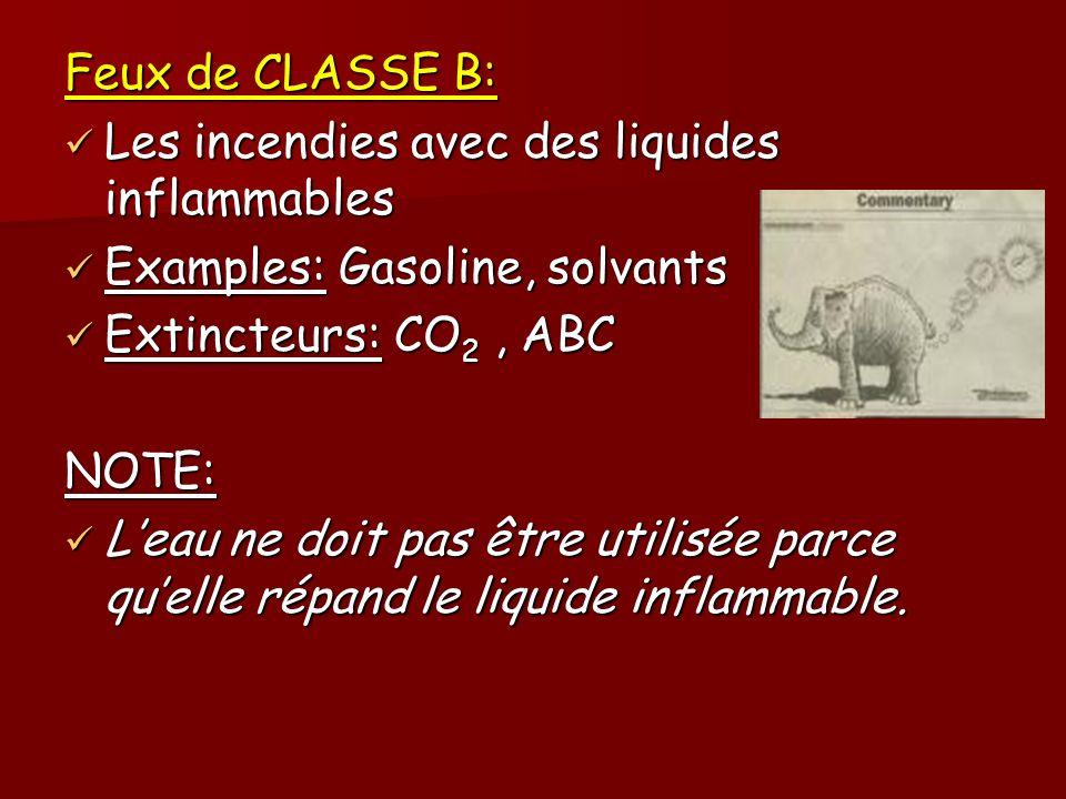 Feux de CLASSE B: Les incendies avec des liquides inflammables. Examples: Gasoline, solvants. Extincteurs: CO2 , ABC.