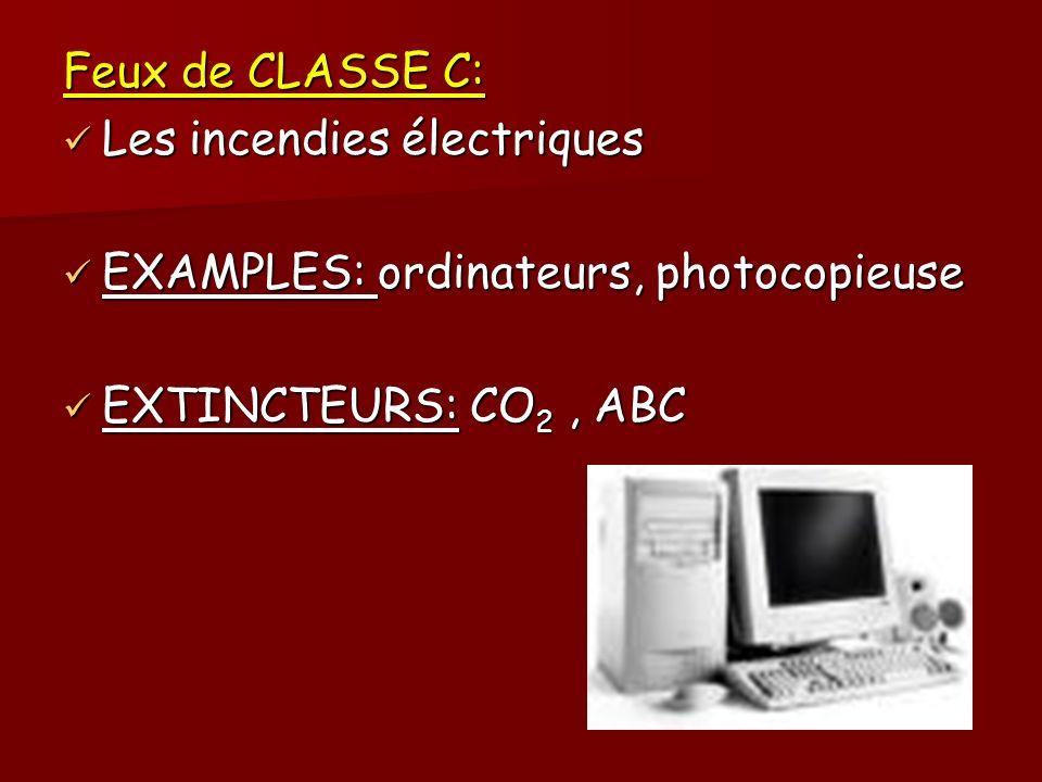 Feux de CLASSE C: Les incendies électriques. EXAMPLES: ordinateurs, photocopieuse.