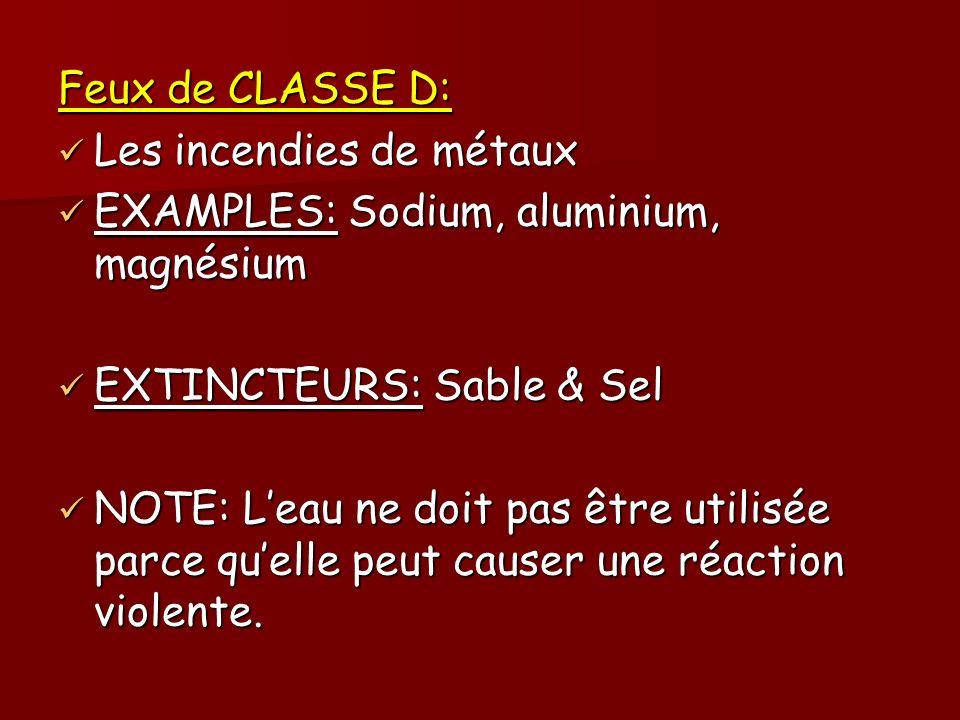 Feux de CLASSE D: Les incendies de métaux. EXAMPLES: Sodium, aluminium, magnésium. EXTINCTEURS: Sable & Sel.