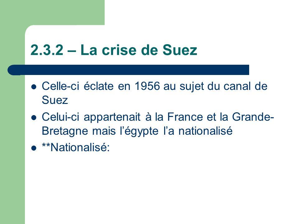 2.3.2 – La crise de Suez Celle-ci éclate en 1956 au sujet du canal de Suez.