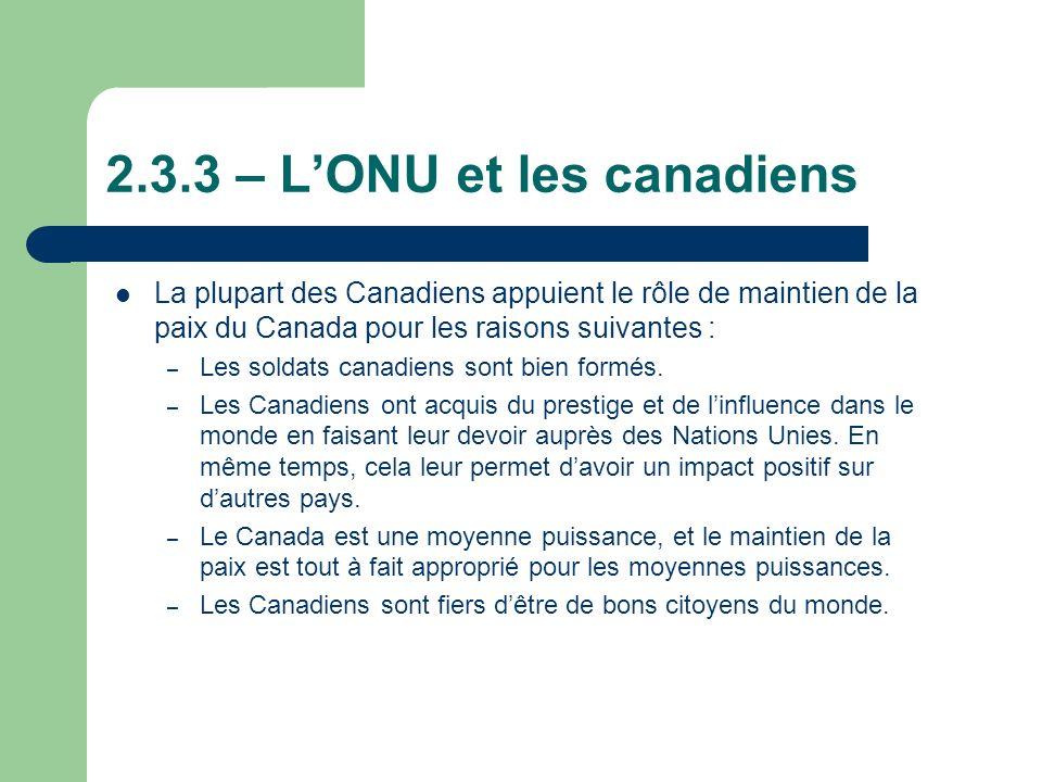 2.3.3 – L'ONU et les canadiens