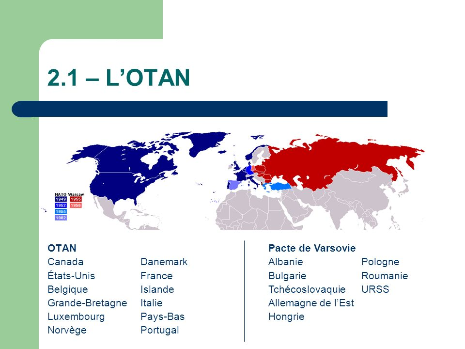 2.1 – L'OTAN OTAN Canada Danemark États-Unis France Belgique Islande