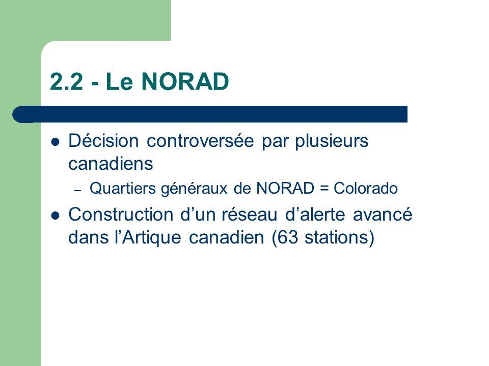 2.2 - Le NORAD Décision controversée par plusieurs canadiens