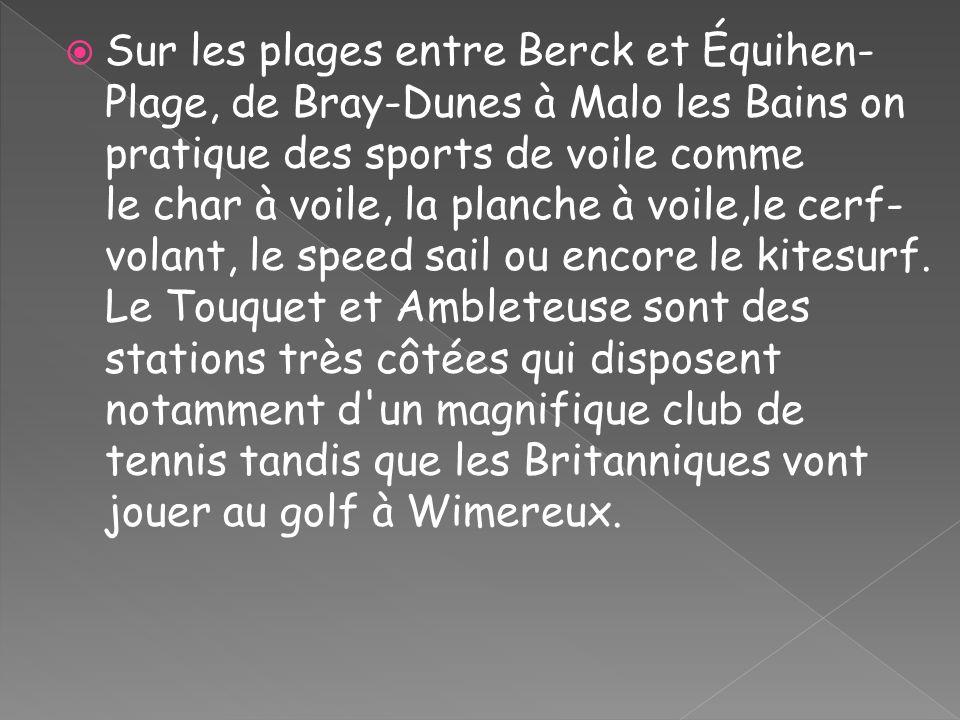 Sur les plages entre Berck et Équihen-Plage, de Bray-Dunes à Malo les Bains on pratique des sports de voile comme le char à voile, la planche à voile,le cerf-volant, le speed sail ou encore le kitesurf.