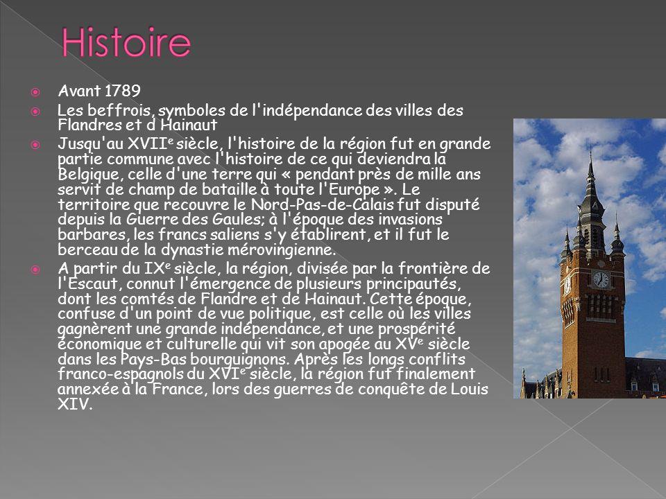 Histoire Avant 1789. Les beffrois, symboles de l indépendance des villes des Flandres et d Hainaut.