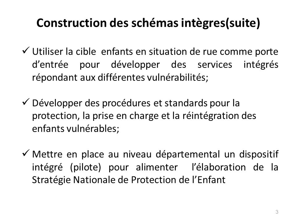 Construction des schémas intègres(suite)