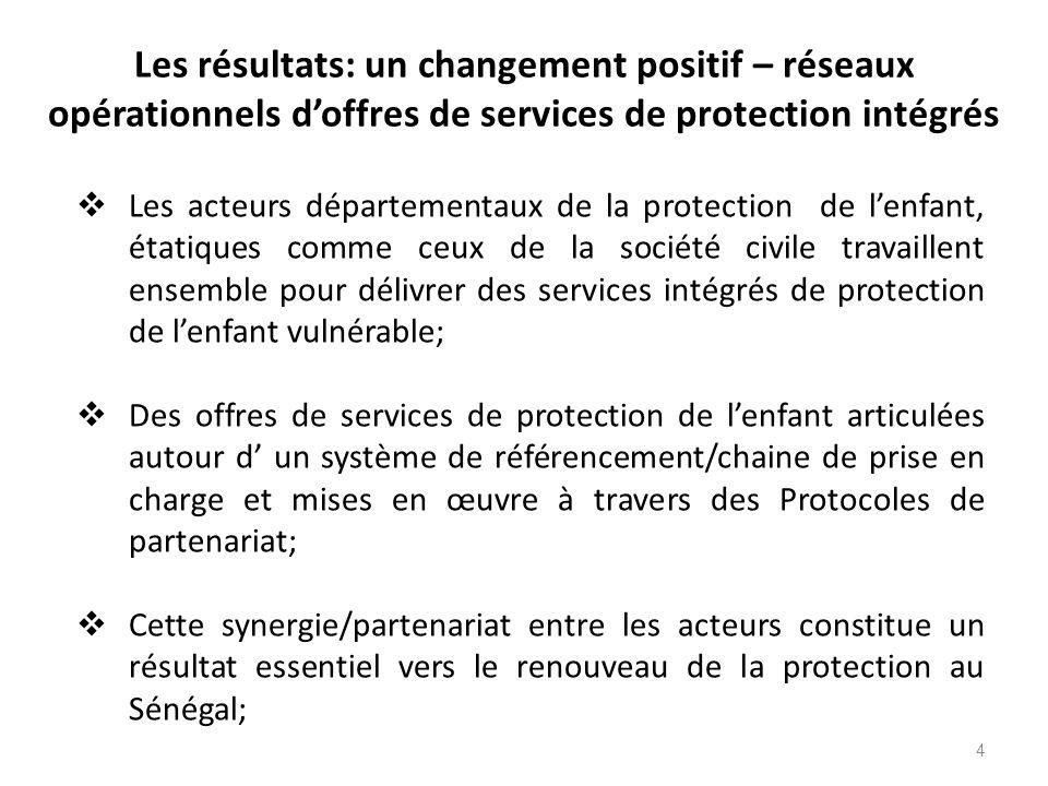 Les résultats: un changement positif – réseaux opérationnels d'offres de services de protection intégrés