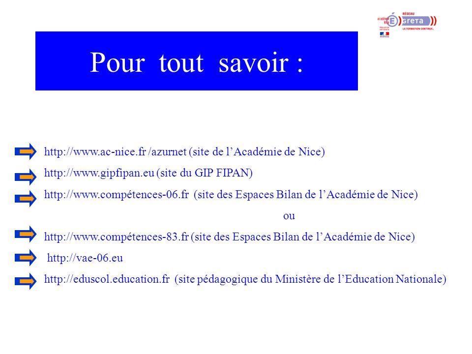 Pour tout savoir : http://www.ac-nice.fr /azurnet (site de l'Académie de Nice) http://www.gipfipan.eu (site du GIP FIPAN)