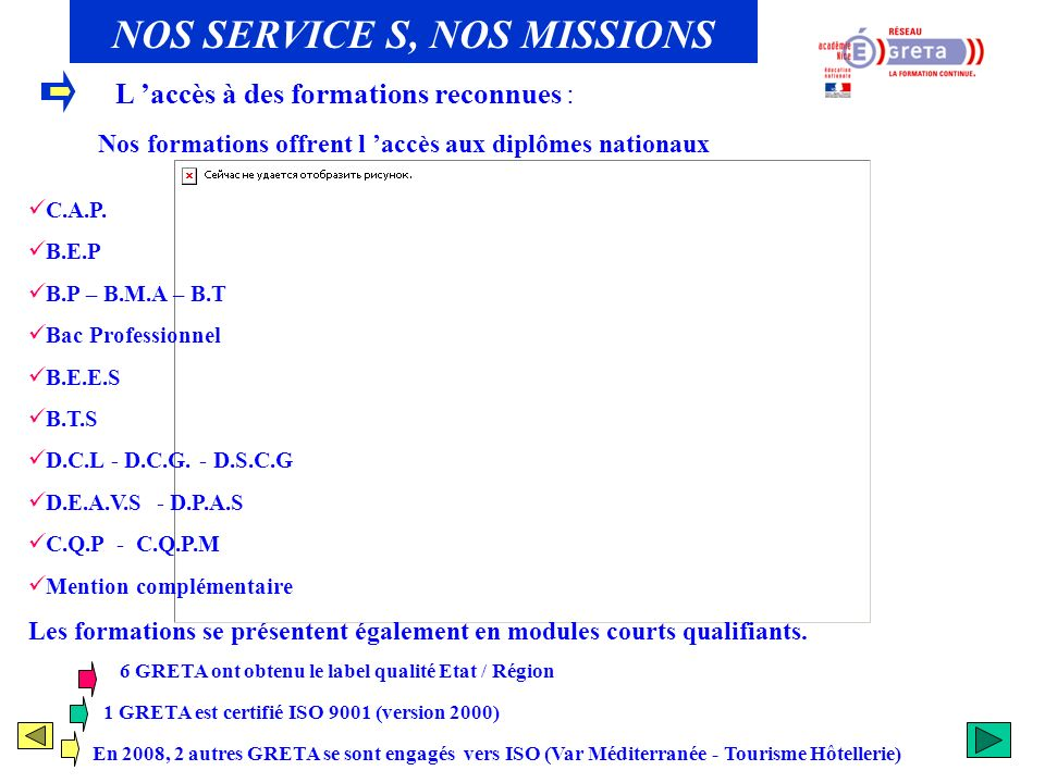 NOS SERVICE S, NOS MISSIONS