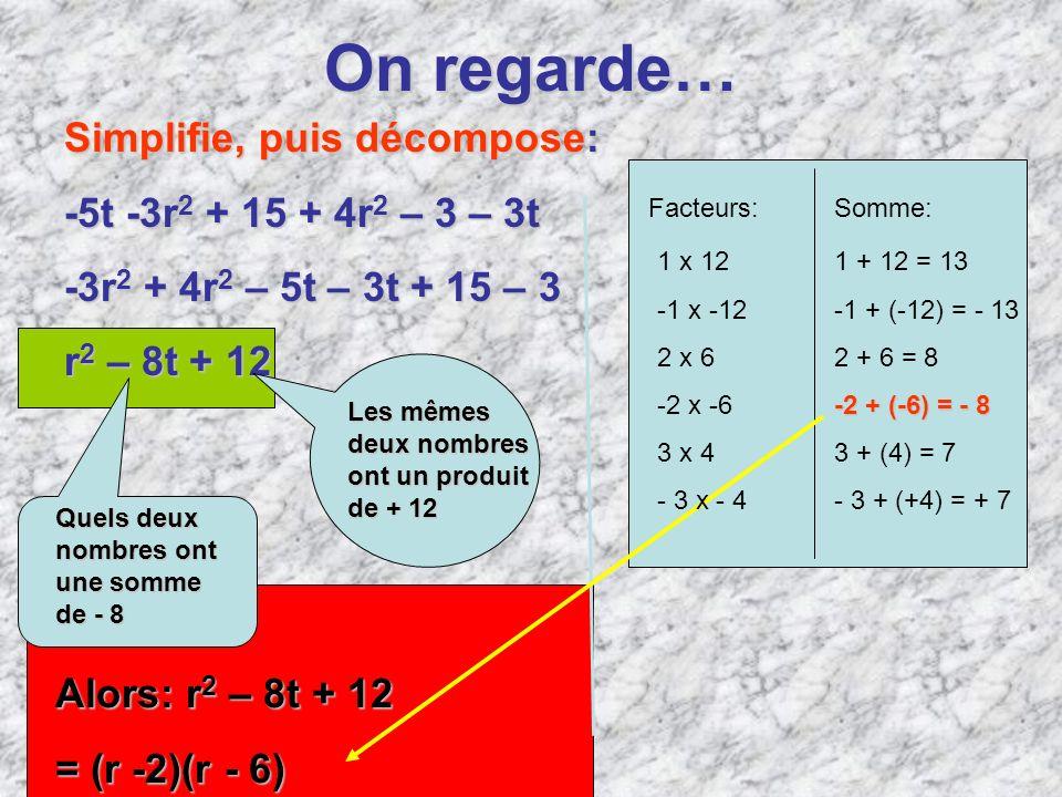 On regarde… Simplifie, puis décompose: -5t -3r2 + 15 + 4r2 – 3 – 3t