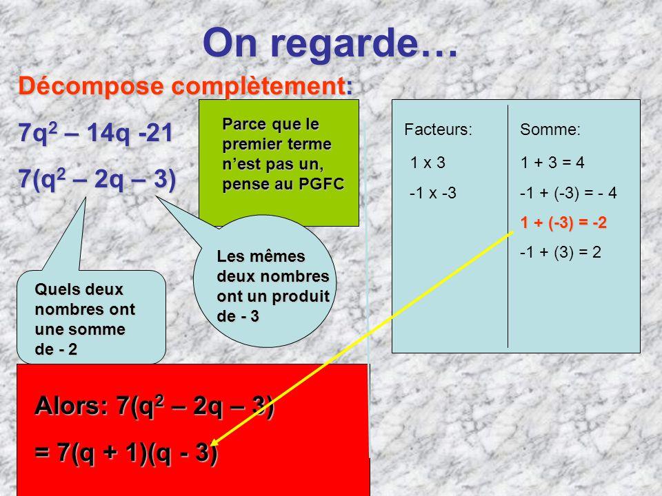 On regarde… Décompose complètement: 7q2 – 14q -21 7(q2 – 2q – 3)