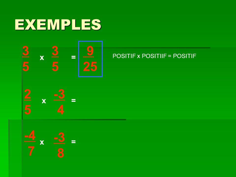 EXEMPLES 3 5 3 5 9 25 x = POSITIF x POSITIIF = POSITIF 2 5 -3 4 x = -4 7 -3 8 x =
