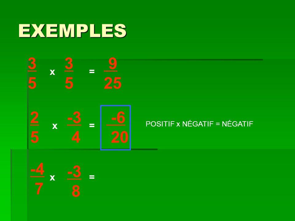 EXEMPLES 3 5 3 5 9 25 x = 2 5 -3 4 -6 20 x = POSITIF x NÉGATIF = NÉGATIF -4 7 -3 8 x =