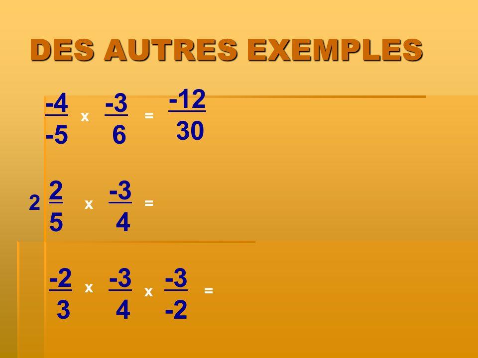 DES AUTRES EXEMPLES -12 30 -4 -5 -3 6 2 5 -3 4 -2 3 -3 4 -3 -2 2 x = x