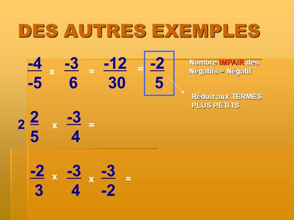 DES AUTRES EXEMPLES -4 -5 -3 6 -12 30 -2 5 2 5 -3 4 -2 3 -3 4 -3 -2 2