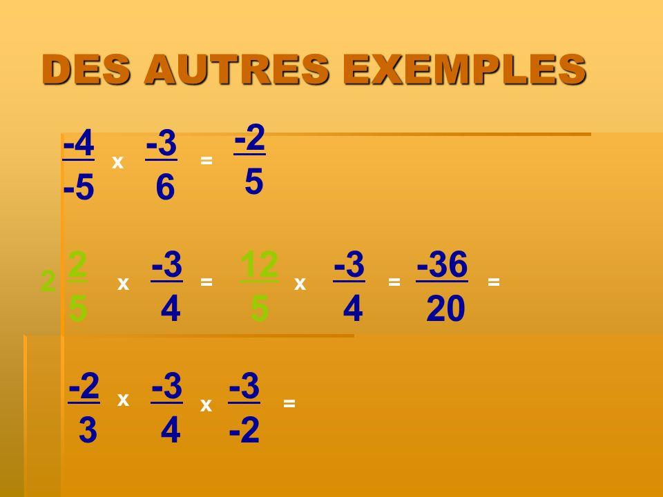 DES AUTRES EXEMPLES -2 5 -4 -5 -3 6 2 5 -3 4 12 5 -3 4 -36 20 -2 3 -3