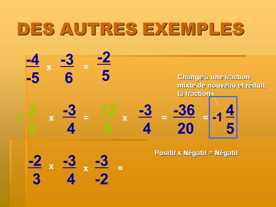 DES AUTRES EXEMPLES -2 5 -4 -5 -3 6 2 5 -3 4 12 5 -3 4 -36 20 4 5 -2 3