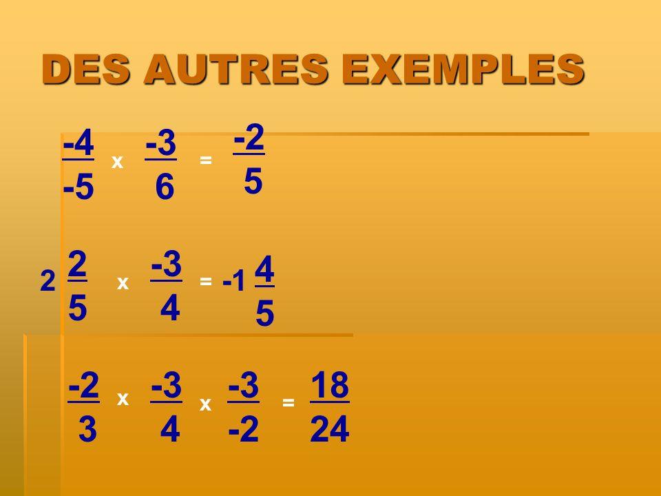 DES AUTRES EXEMPLES -2 5 -4 -5 -3 6 2 5 -3 4 4 5 -2 3 -3 4 -3 -2 18 24