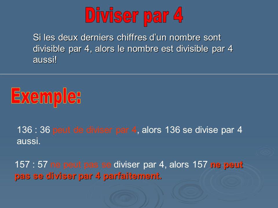 Diviser par 4 Si les deux derniers chiffres d'un nombre sont divisible par 4, alors le nombre est divisible par 4 aussi!