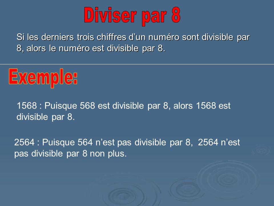 Diviser par 8 Si les derniers trois chiffres d'un numéro sont divisible par 8, alors le numéro est divisible par 8.