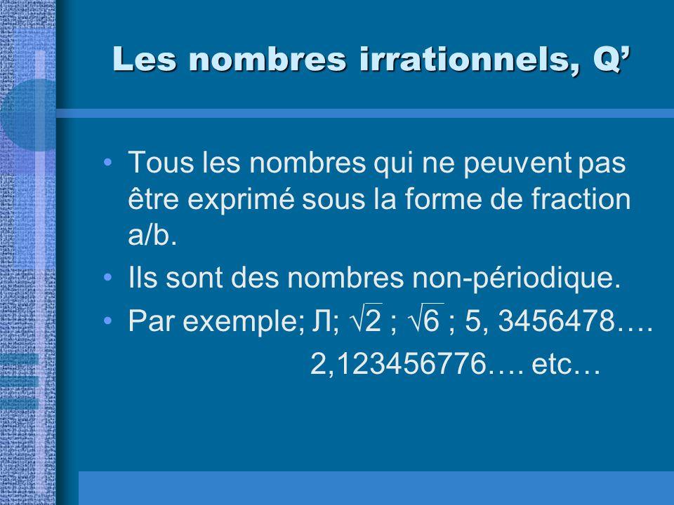 Les nombres irrationnels, Q'