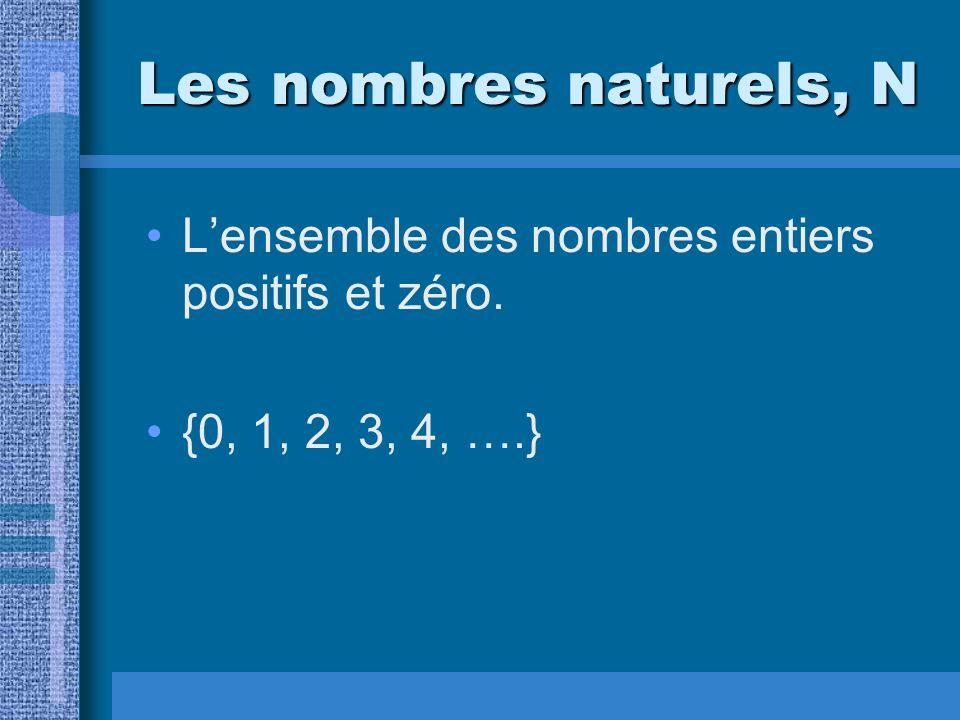 Les nombres naturels, N L'ensemble des nombres entiers positifs et zéro. {0, 1, 2, 3, 4, ….}